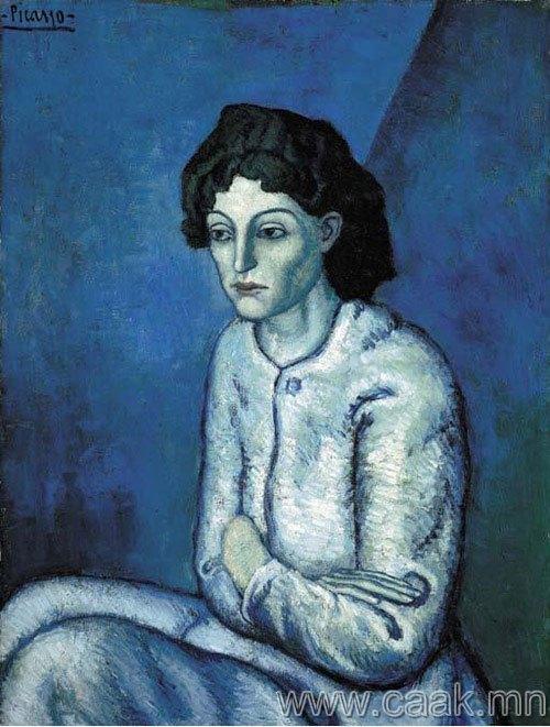 Пабло Пикассо — Уруулаа жимийсэн эмэгтэй (1901-1902)