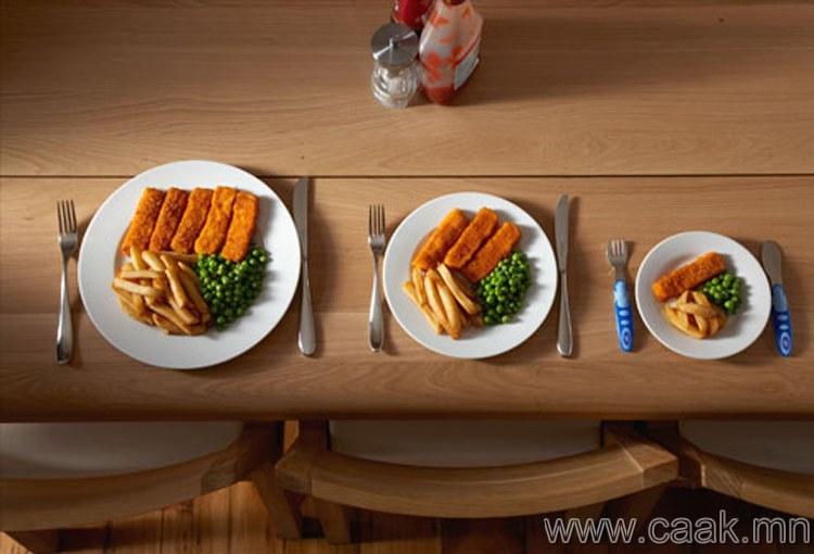 Таны хоолны аяга хэтэрхий том