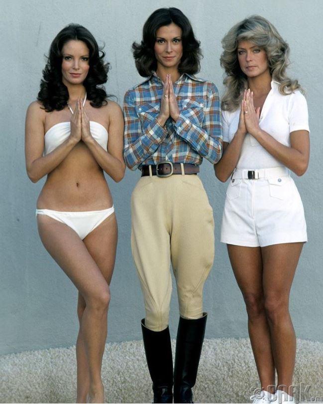 """Анхны """"Чарлигийн Тэнгэр элч"""" Жаклин Смит, Кейт Жексон, Фаррат Фаркет нар1976 онд"""