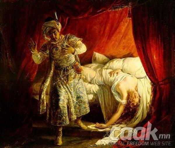 Отелла Дезедмоныг боож алаагүй, харин хутга дүрсэн.
