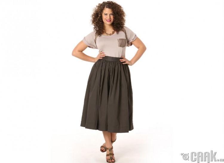Урт дэрвэгэр юбка