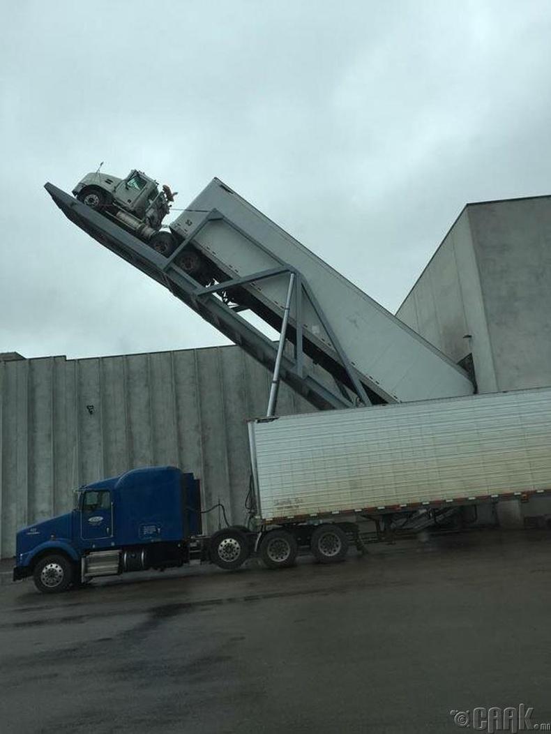 Чипсний үйлдвэрт төмс буулгаж буй машин