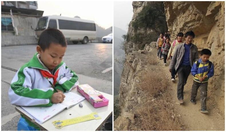 Хятадын Гуйжоу мужийн Гэнгуан тосгоны сургуулийн хүүхдүүд хичээлдээ явахын тулд өдөр бүр 10 гаруй км урт, маш аюултай уулын замыг туулдаг байжээ.