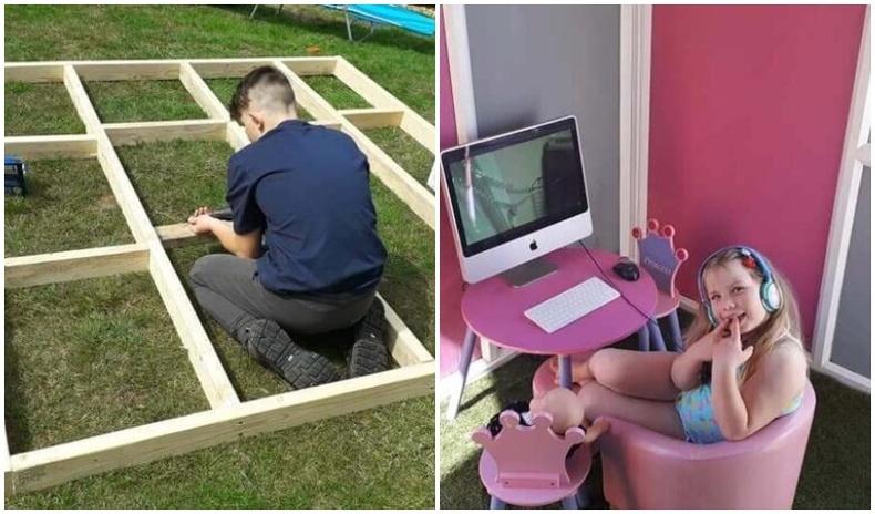 14 настай энэ хүү хөл хорионы үед уйдсан дүүдээ зориулж байшин барьж өгчээ