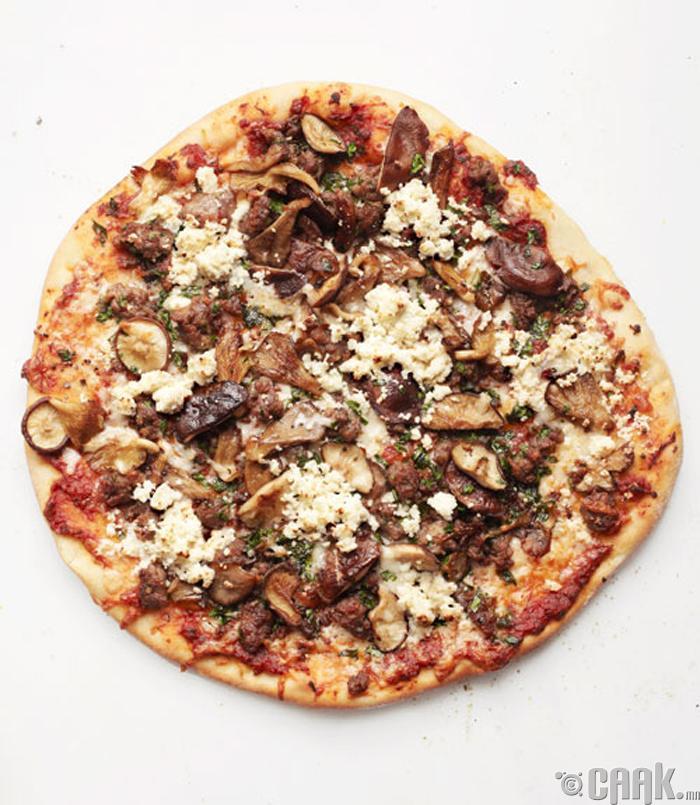 Зайдас, мөөгтэй пицца