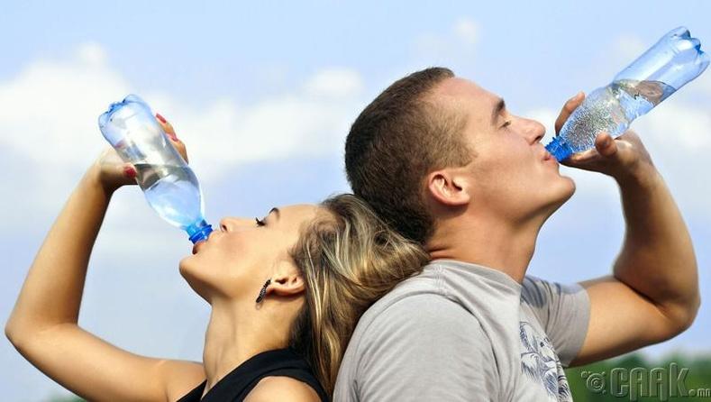 Хангалттай хэмжээний ус уух