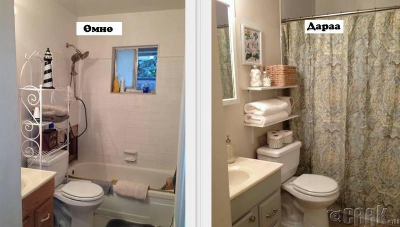Ариун цэврийн өрөөгөө цэгцтэй болгох энгийн санаа
