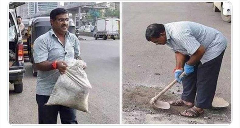 Дадарао Билхоре хэмээх энэтхэг эр 16 настай хүүгээ замын нүхнээс үүдсэн автын осолд алджээ. Үүнээс хойш тэрээр тааралдсан нүх болгоныг чадахаараа бөглөж байгаа гэнэ.