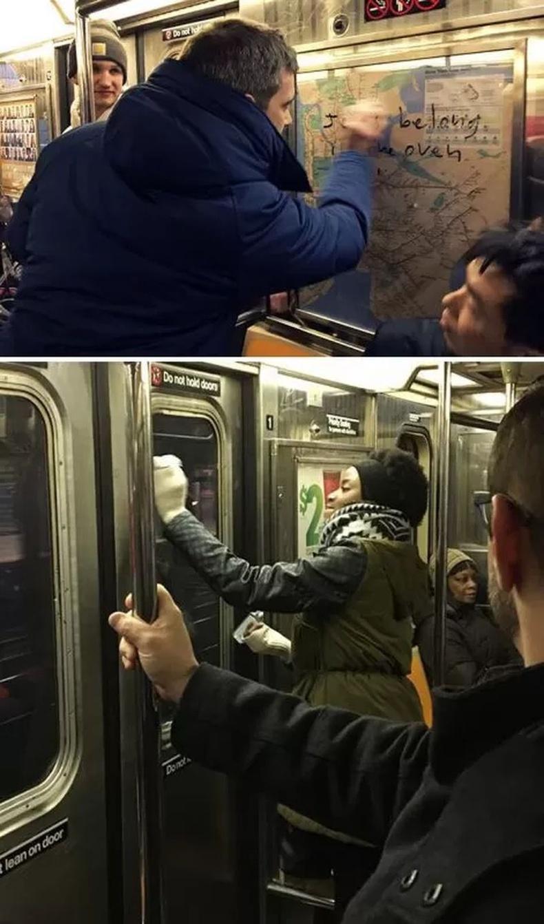 """""""Манхэттэний метронд хэн нэгэн дүүрэн хас тэмдэг зурж үлдээсэн байжээ. Нэг залуу эргэн тойрондоо байгаа хүмүүсийг уриалж, бүгд хамтдаа хүний ёсноос гажуудсан үзэлтнүүдийн фашист тэмдгийг арилгаж эхэлсэн байна."""""""