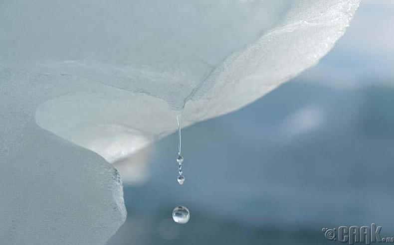 Илүлиссад хайлж буй мөсний усан дусал
