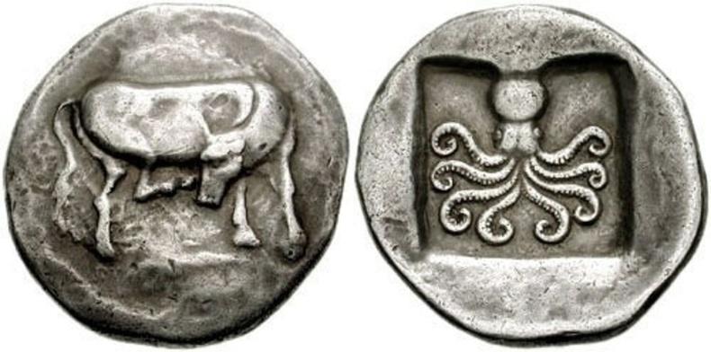 Эритрээс олдсон, 2500 жилийн настай Грекийн мөнгөн зоос дээрээ үнээ болон наймаалжны зурагтай байв