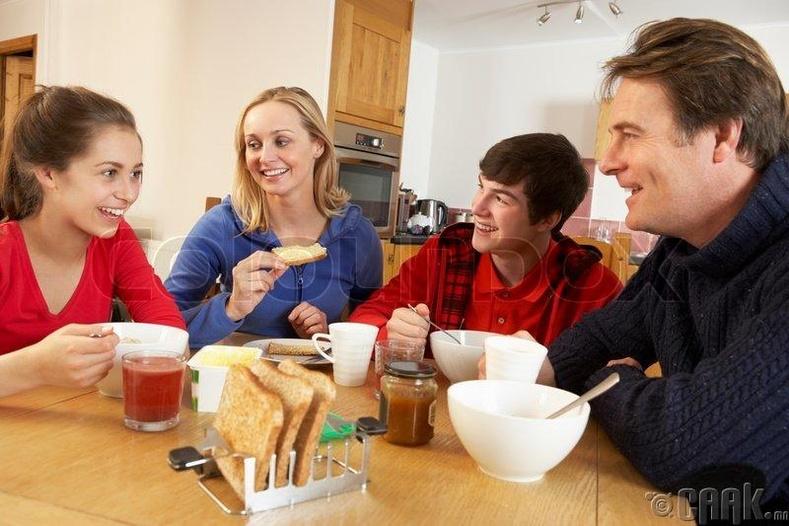 Хоолоо залгиж байж юм яриарай