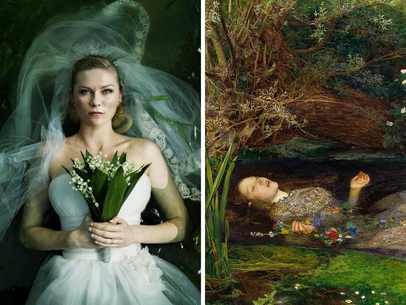 """""""Melancholy"""" (2011), Ларс фон Триер - """"Офелиа"""", зураач Жон Эверетт Милле, 1852"""