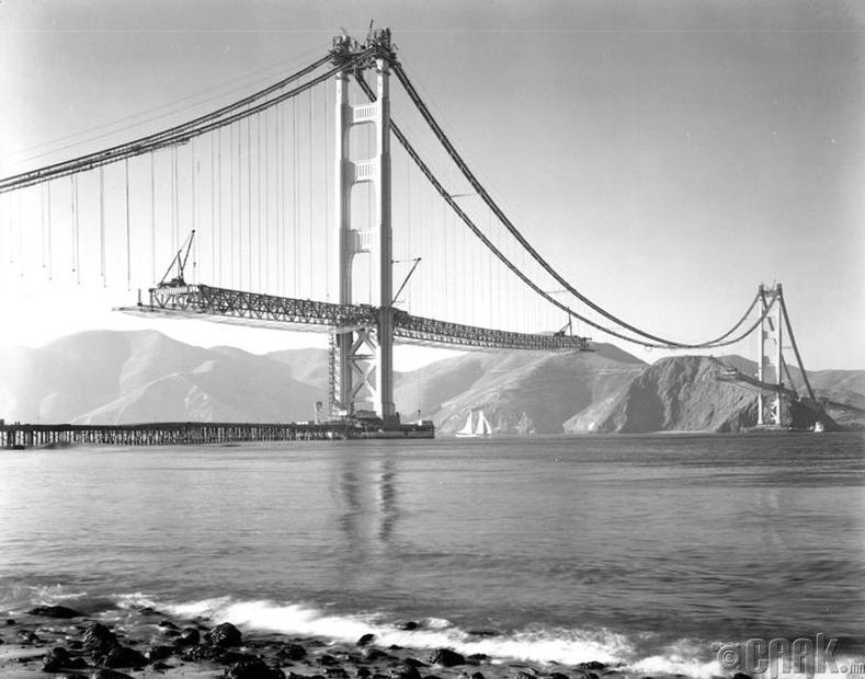 """""""Голден Гэйт"""" гүүрний барилгын ажил - Сан Франциско, АНУ, 1937 он"""