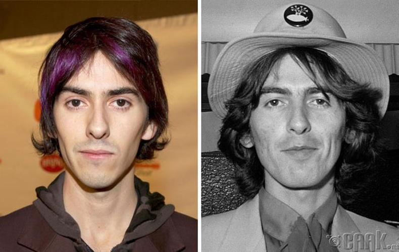 Дхани Харрисон (Dhani Harrison) болон гитарчин Жорж Харрисон (George Harrison)
