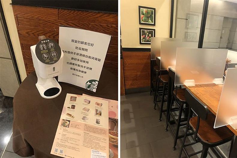 Тайванийн нэгэн кафе ширээ бүр дээр гар ариутгагч байрлуулсан байна