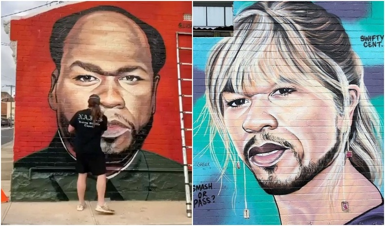 """Рэппер """"50 Cent""""-ийн уурыг барж буй гудамжны уран бүтээлч"""