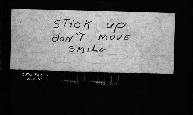 Банк дээрэмдэх үеийн бичвэр, 1965