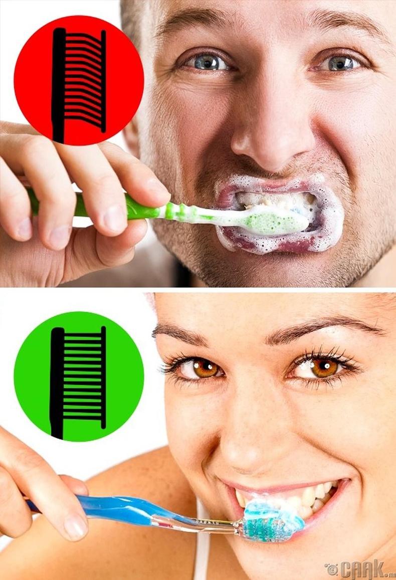 Шүдээ угаахдаа хэт чанга дарж үрэх