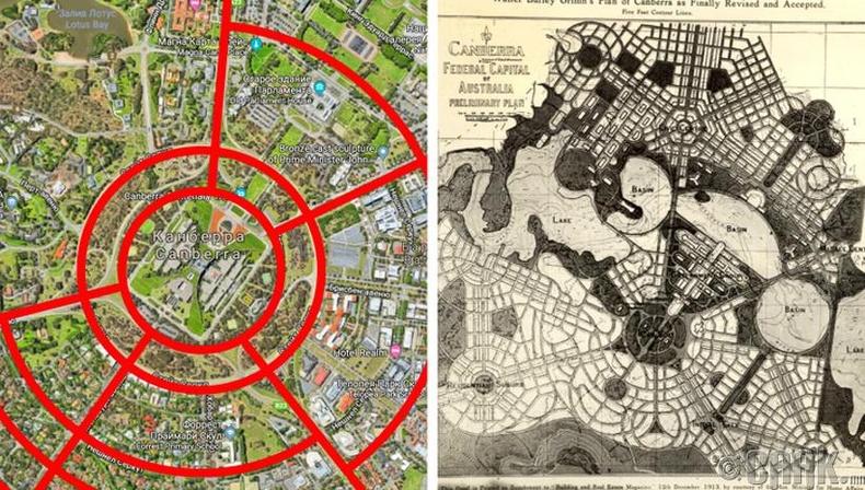 Канберра: Дугуй тойрог болон хигээс хэлбэртэй хот