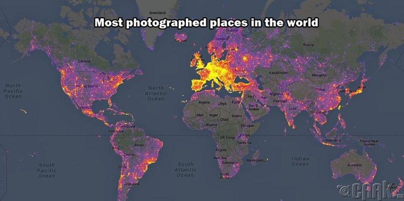 Дэлхийд хамгийн их зурган дээр гарсан улсууд
