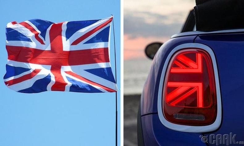Их Британийн далбайн дүрстэй арын гэрэл
