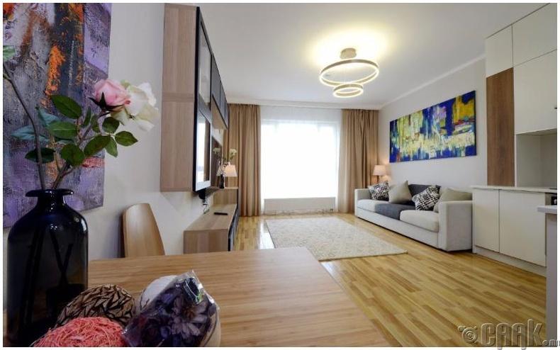 Өрөөний зохион байгуулалт: Стандарт 1 өрөө орон сууц - 32,0-34,0мкв