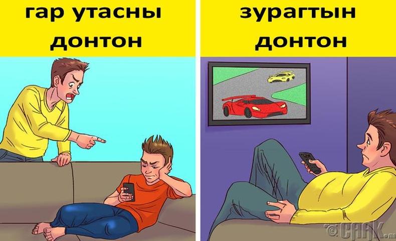 Эцэг эхчүүд хүүхдээ утаснаасаа салахгүй гэж загнадаг, харин өөрсдөө олон цагаар зурагт үзсээр