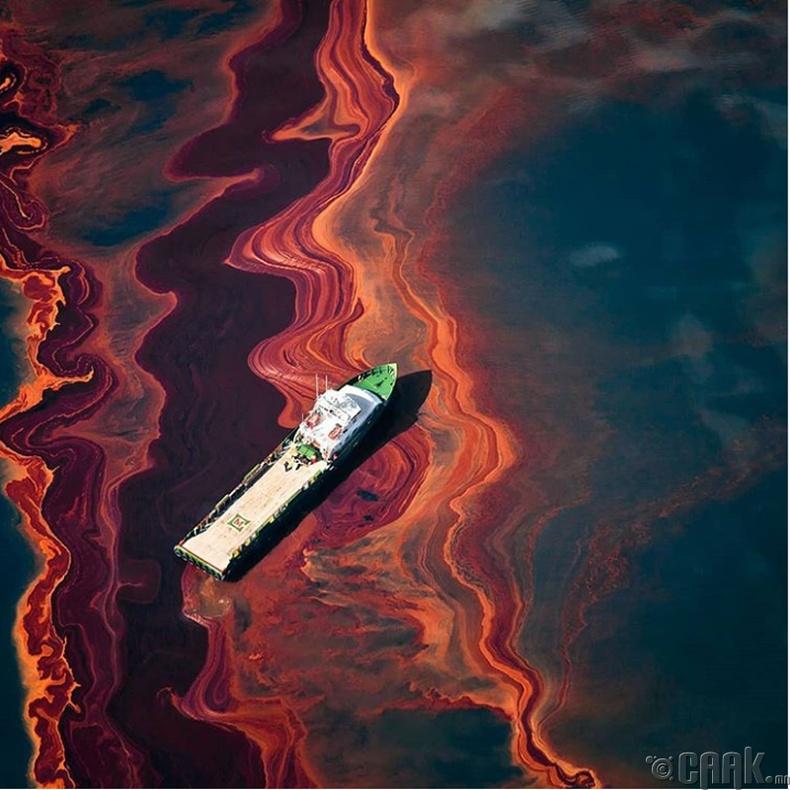 Номхон далайд асгарсан газрын тос