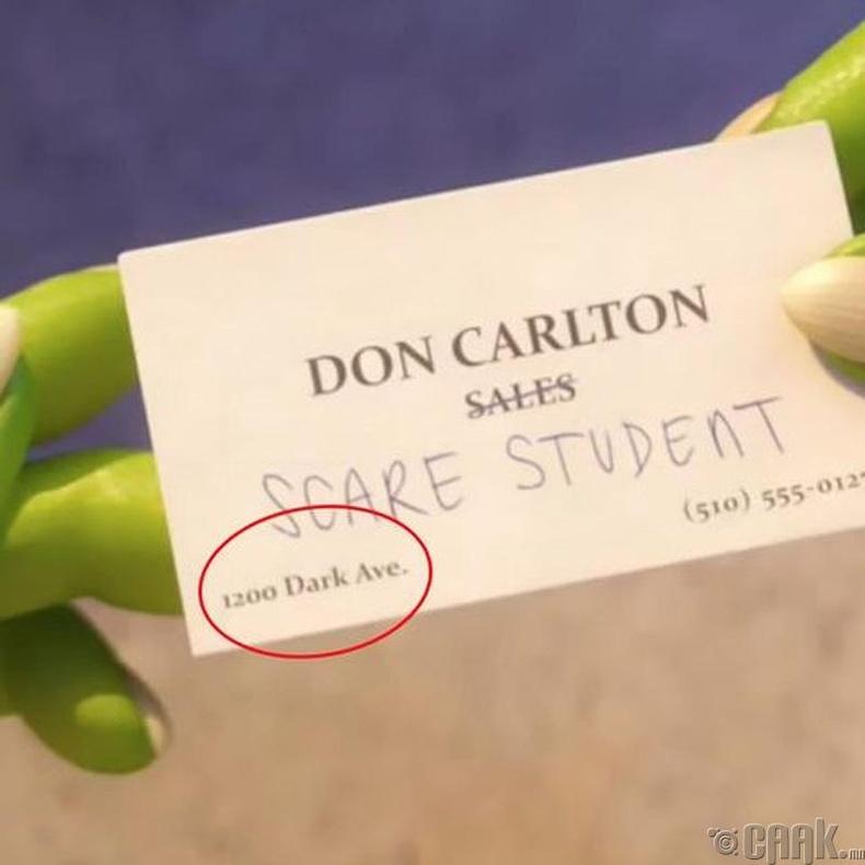"""""""Мангасууд"""" кинон дээр гардаг нэрийн хуудас дээр """"Pixar Animation Studios""""-ын жинхэнэ хаяг байсан"""