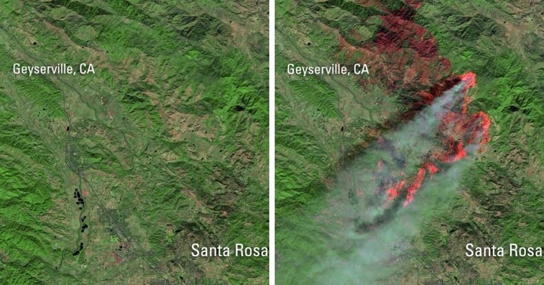Калифорнид гарсан түймэр хиймэл дагуулаас ингэж харагдсан байна