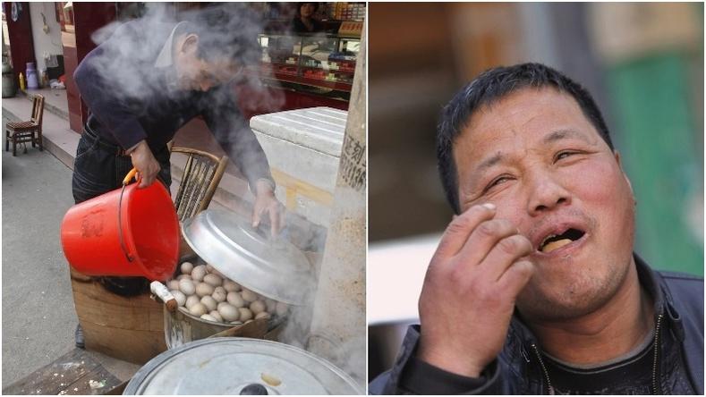 Хятад зоог - Зандан хөвгүүдийн шээсэнд чанасан өндөг