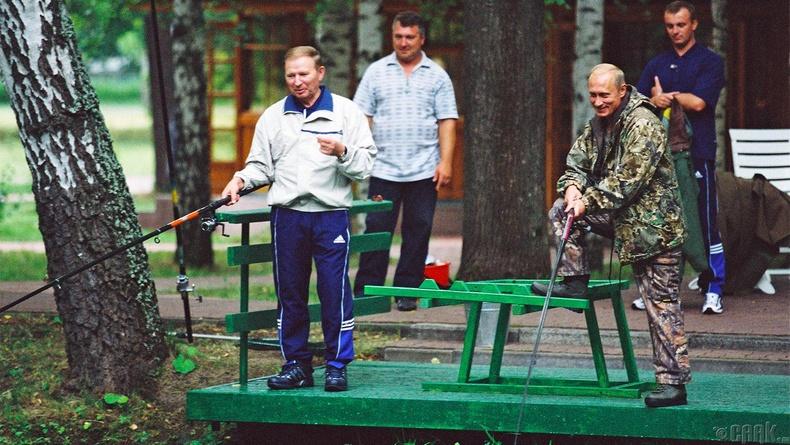 Украины Ерөнхийлөгч Леонид Кучмагийн хамт загасчилж буй нь, 2002 он