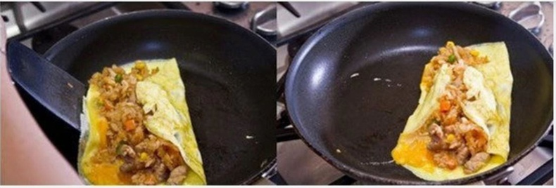 Болгоомжтойгоор өндөгний хоосон талаар холимогоо хучиж өгөөрэй. Дараа нь омлетоо тал талаар нь сайтар шарна