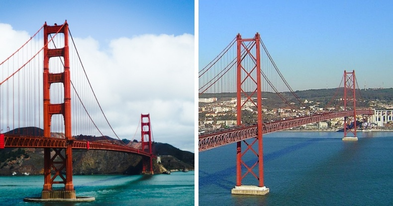 Golden Gate Bridge (Калифорниа, АНУ) болон Ponte 25 de Abril буюу 4-р сарын 25-ны гүүр (Португал)