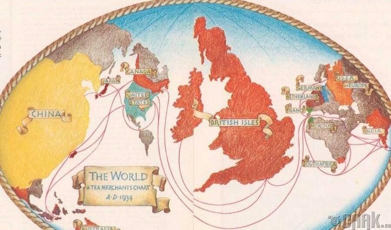 1930-аад онд Британичуудын бүтээж байсан дэлхийн газрын зураг