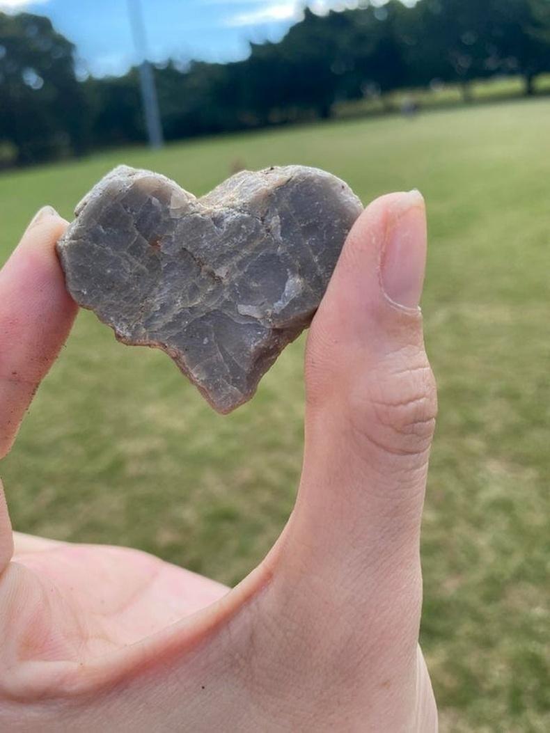Газарт хэвтэж байсан зүрхэн хэлбэртэй чулуу