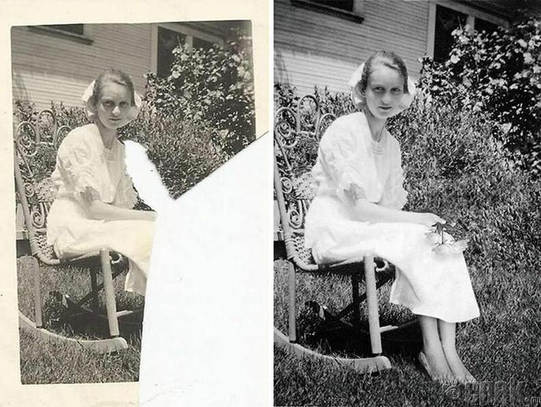 Цэцэрлэгт сууж буй охин