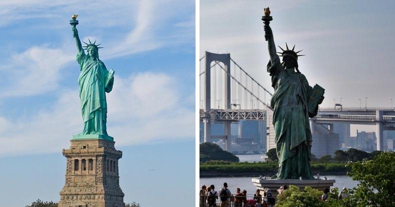 Нью Йоркийн Эрх чөлөөний хөшөө болон Одайба арал дээрх Япон хуулбар