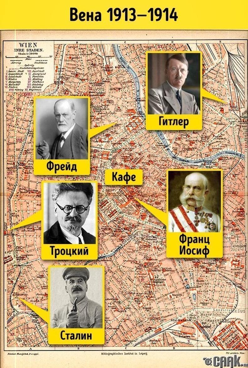 1913 онд Гитлер, Троцкий, Сталин мөн Фрейд дөрөв нэг хотод амьдардаг байсан