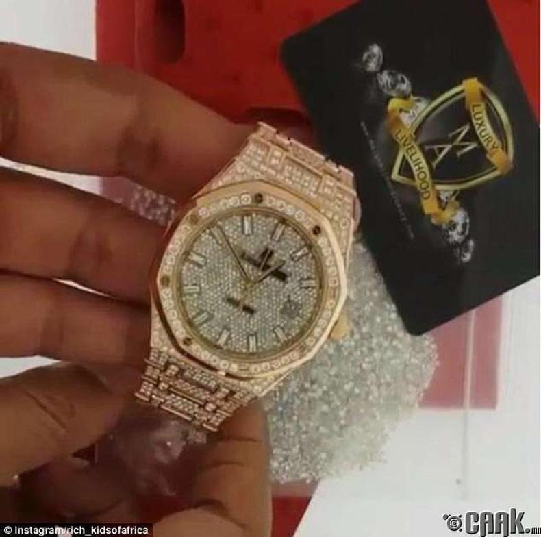 Захиалгаар хийлгэсэн алмаазан шигтгээтэй цаг