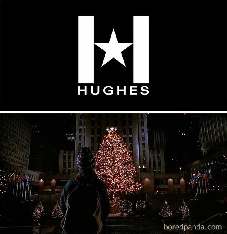 Энэ үзэгдэл кино бүтээсэн компани болох Hughes Энтертайнментын логог ерөнхийлөн дүрсэлдэг.