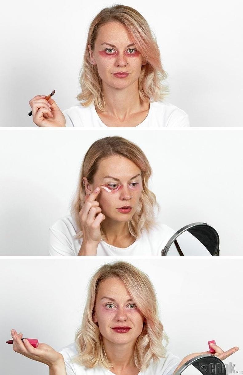 Нүдэн доорх хөхрөлтийг уруулын будаг ашиглан дарах