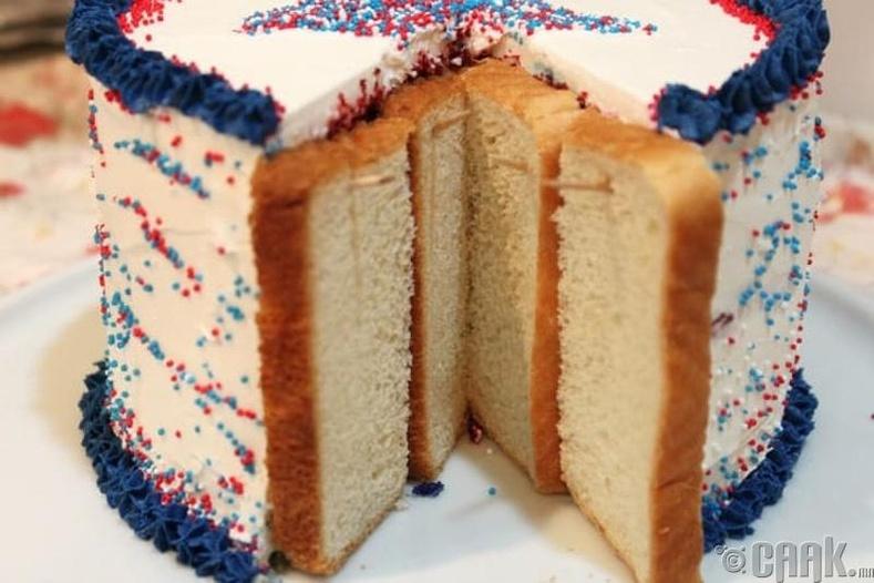 Дуусгаагүй бялууны дотор талд талх тогтоосноор бялууг хатахаас сэргийлнэ