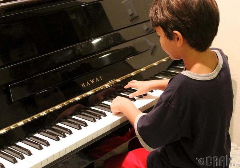 Хажуугийн хаалган дахь төгөлдөр хуурч