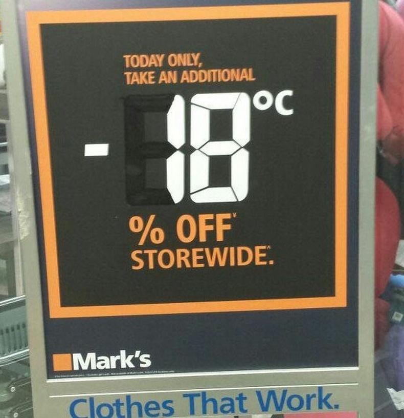 Канадын зарим дэлгүүр өвлийн цагт тухайн өдрийн агаарын хэмээс шалтгаалж хямдрал зарладаг