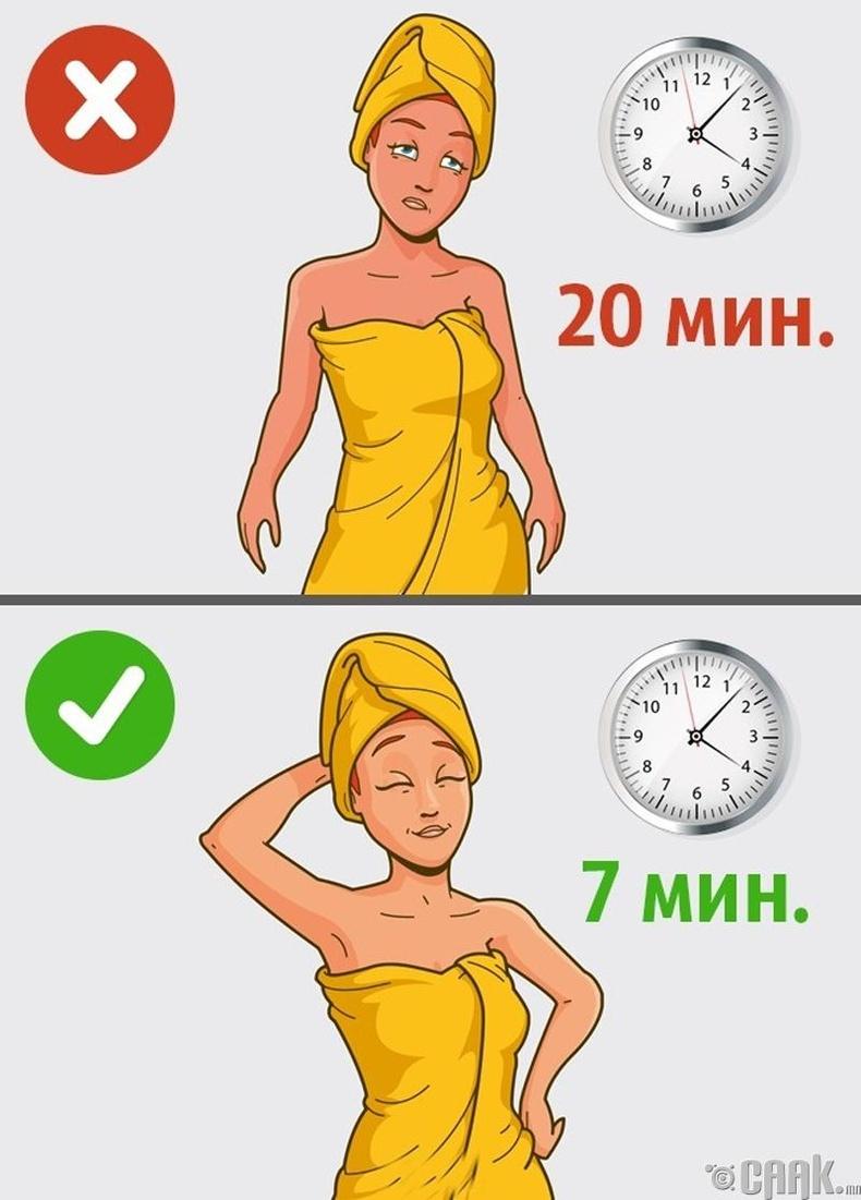 Удаан хугацаагаар халуун шүршүүрт орох