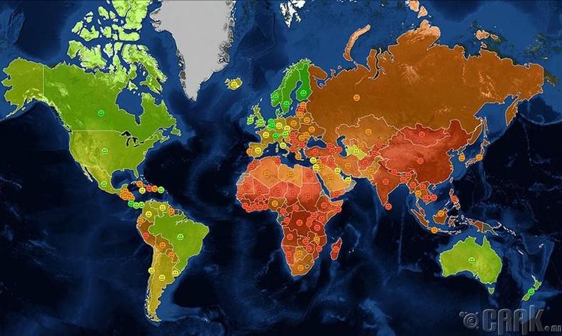 Улс орнуудыг аз жаргалын индексээр ялгавал...