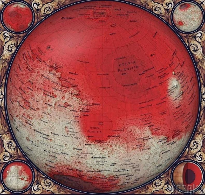 Ангараг гаригийн топографийн зураг