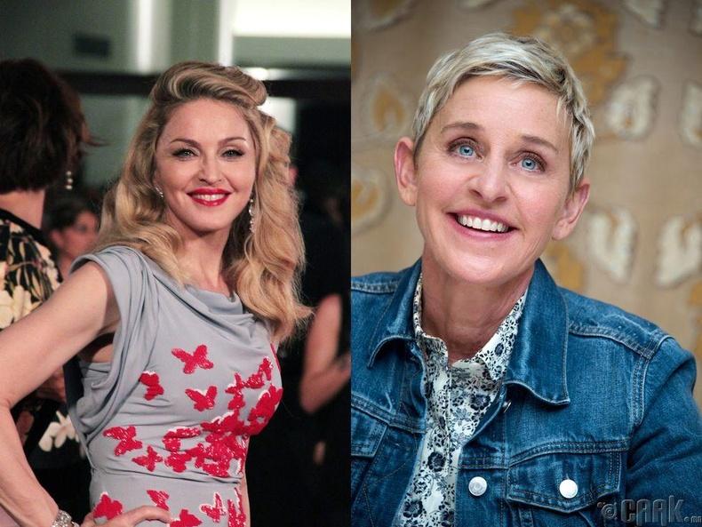Дуучин Мадонна, хөтлөгч Эллен Деженерес нар удахгүй 61 насны төрсөн өдрөө тэмдэглэнэ